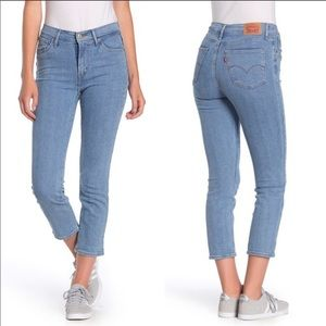 Levis 724 High Rise Straight Cropped Striped Jeans
